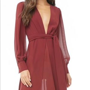 Floor length deep red dress